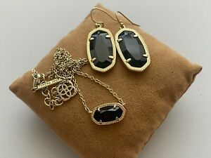 Kendra Scott Black Rhinestone Gold Tone Necklace & Hook Earrings Set