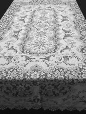 "New Oxford House Katherine 60"" x 84"" Oblong White Scalloped Lace Tablecloth"