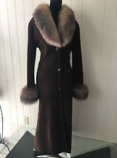$5695.00 Natural Lights Weight Spanish Merino Shearling Fur Coat/Crystal Fox M