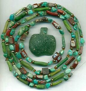 """Roman Ancient Glass Beads Encrusted Tubes, Turquoise & Pendant~2,000 yrs 39"""""""