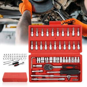 "46Pc Drive Socket Set 1/4"" Wrench Torx Ratchet Driver Screwdriver Bit Extension"