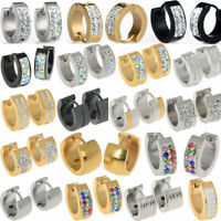 Stainless Steel Punk White Sapphire Hoop Huggie Studs Cuff Men Women Earrings
