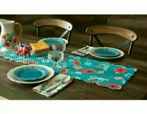 """The Pioneer Woman Vintage Bloom Table Runner 14"""" X 72"""" Quilted Reversible Floral"""