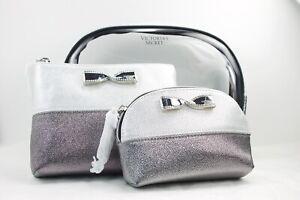 Victoria's Secret Silver Grey Glitter 3 Piece Cosmetic Makeup Bag