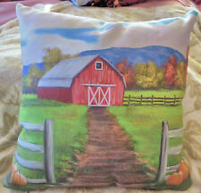 16X16 inch Decorative Pillow w/ Fall Scene and Red Barn