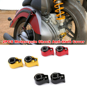 2PCS Motorcycle Bike Rear Shock Arm Absorber Screw Bolt Anti-theft Cover M8/M10