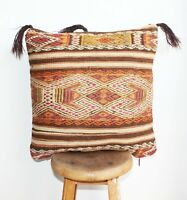 "Handmade Kilim PILLOW CUSHION COVER - Turkish Tribal Decorative Pillow 18"" x 18"""