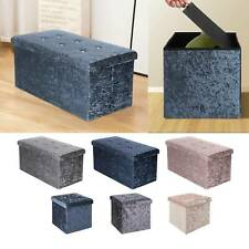 Crushed Velvet Folding Ottoman Storage Box Folding Seat Stool Home Storage Bench