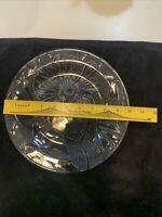 """1 CLEAR GLASS KIG DINNER PLATES 10"""" INDONESIA TEXTURED FLOWER HIBISCUS BLOSSOM"""
