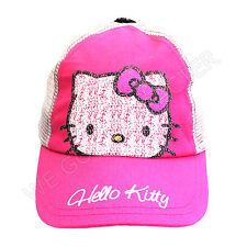 Con Licencia Oficial Hello Kitty Rosa Gris Malla Trasera Gorra de béisbol 4-8 años de edad