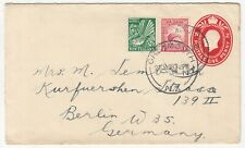 New Zealand: GV Uprated Embossed Cover: Greymouth to Berlin, 21 January 1938