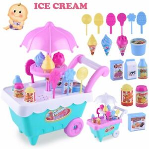 Lovely Gift Ice Cream Cart Play Set Kids Pretend play Toy Food Toys Education UK