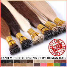 THICK 100% Remy Human Hair Extensions Nano Micro Loop Ring Bead I-Tip Stick Long