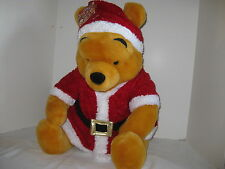"Huge Winnie The Pooh Santa Helpers Disney Store 23"" Sitting Plush Bear Christmas"