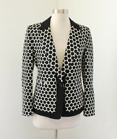 Leifnotes Anthropologie Black White Polka Dot Delacour Blazer Jacket Size 6