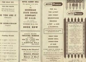 Keith Prowse Entertainment Guide 1959 London Theatre Schedule