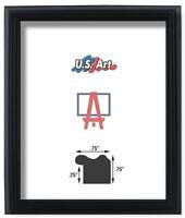 """US ART Frames .75"""" Black Solid Poplar Wood Picture Poster Frames, 8"""" Sizes"""