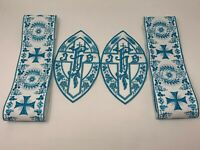 IHS Cross Vestment Banding + Emblems Blue on White  (4 Pcs) Lot / Bundle
