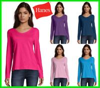 Hanes Women's Long-Sleeve V-Neck T-Shirt Tee 100% Cotton Top Tag Free sz S-2XL