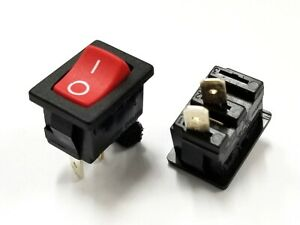 Lot of 2 Arcolectric # H8601VBBR SPST OFF-(ON) Red Rocker Switch 6A @ 250V AC