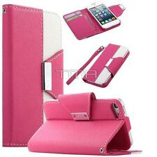 Fits iPod Touch 5 / 6 PU Leather Flip Credit Card Wallet Stand Case Cover - Pink