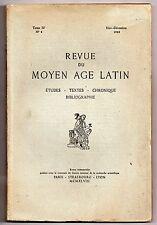 REVUE DU MOYEN AGE LATIN 1948 LITTERATURE MEDIEVALE Tome IV n°4