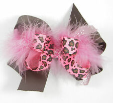 Personalized Embroidered Pink Cheetah Feather Boa and Chocolate Brown Hair Bow