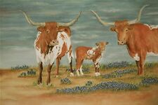 Hd Art Print Animals Texas Longhorn Oil painting Printed on canvas 16X24 in P424