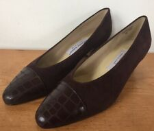 Vtg Etienne Aigner Ann Marie Brown Suede Leather Chunky Victorian Heels 8M 38.5