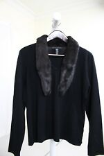 Apostrophe Rayon & Nylon Blend Black Knit Top W/Removable Faux Fur Collar XL