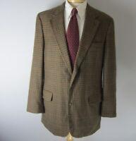 Brooks Brothers Mens 41 L Brown Blue Wool Houndstooth Sport Jacket Coat Blazer
