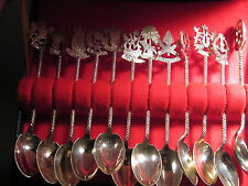 Mohd Salleh & Sons Malaysia Silver  SET OF12 SPOONS Malaysia States Orig Box