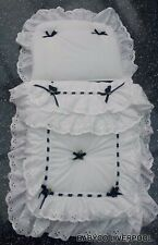 Dolls/Toy Pram set to fit oberon silver cross - white with Navy bows