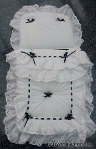 Baby Pram set to fit silver cross coach built prams - white with Navy bows