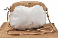 Authentic GUCCI Micro GG PVC Leather Shoulder Cross Body Bag Beige White B7970