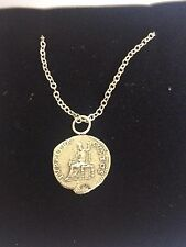 "Denarius Of Nero Pewter Coin WC21 Made In Pewter On 24"" Silver Plated Necklace"