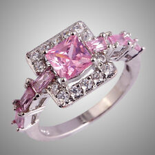 Pink & White Sapphire Gemstone Silver Rings Sizes L N P R T Princess Cut Wedding