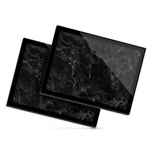 2x Glass Placemats 20x25 cm - Black Marble Effect Art Rock  #44319