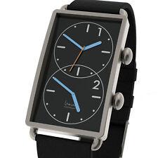 "Projects Watches ""Grand Tour"" Dual Time Acero Inox Negro Cuero Reloj Hombre"