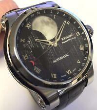 New Renato Patented Martin Braun Hand Modified Automatic Black Moon Dial Watch