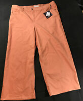 New: Plus Size High-Rise Wide Leg Ankle Length Chino Pants Ava & Viv Coral 20W
