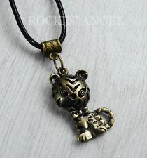 Bronze Plt Cute Tiger Cat Pendant Necklace Ladies Girls Animal Lover Gift