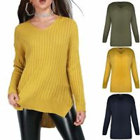 Women Ladies V Neck Rib Knit Stretch Sweater Side Slit High Low Baggy Jumper Top