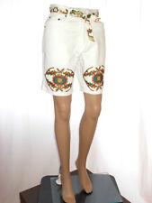Womens Vtg Design TEDDY Hand Custom Embellish White Denim Shorts Pants sz S AL35