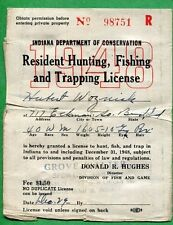 INDIANA 1948 Resident Hunting, Fishing & Trapping License RW15 Duck Stamp - 345