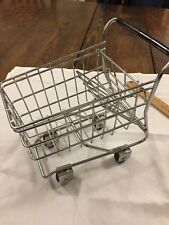"Small Metal Shopping Cart Rolling Wheels 7"" By 8"" Home Decor"