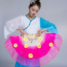 1 Pair Bamboo 3D Flower Tulle Hand Folding Fan Dance Party Decor Props Gift Chic