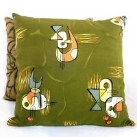 "Pair Green Atomic Barkcloth 16x16"" Throw Pillows from Vtg MCM 2002 Repro Fabric"