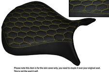 HEX DESIGN YELLOW STITCH CUSTOM FITS KAWASAKI NINJA ZX6R 07-08 FRONT SEAT COVER