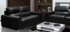Naples Leather Sofa 2 Seater Black